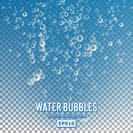透明な背景の上に水の泡。光沢のある現実的なバブルと半透明のアクアバブル イラスト