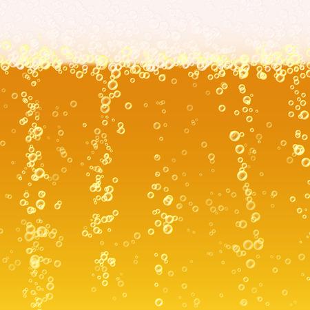 ビールの泡の背景。現実的なビールのテクスチャです。ブライト、泡と液体を光します。ベクトル図