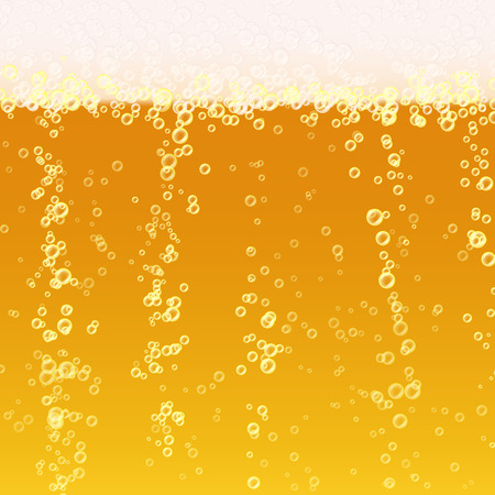 Beer Foam Background. Realistic Beer Texture. Light Bright, Bubble And Liquid. Vector Illustration