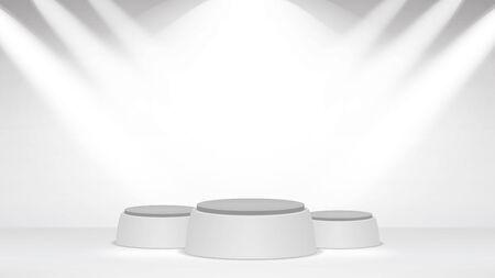 Fond intérieur de Studio photo blanc vide. Mur blanc vide avec lampes halogènes. Illustration vectorielle.