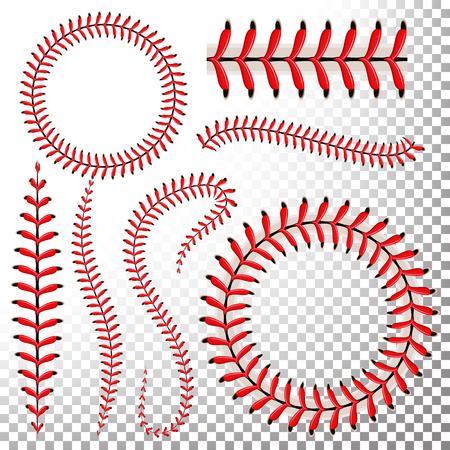 Baseball Stitches Set. Baseball Red Lace Isolated