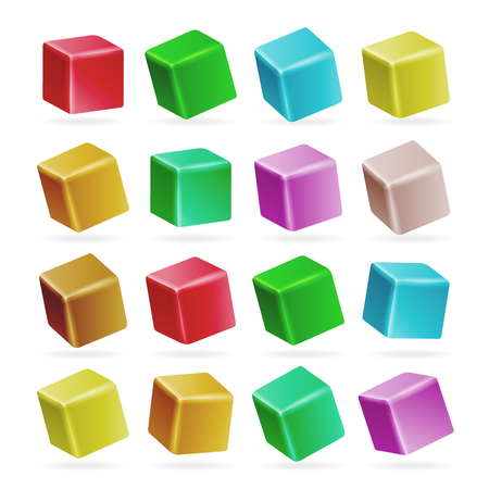 tessera: Colorful Cube 3d Set Vector. Perspective Empty Models Of A Cube Isolated On White Illustration