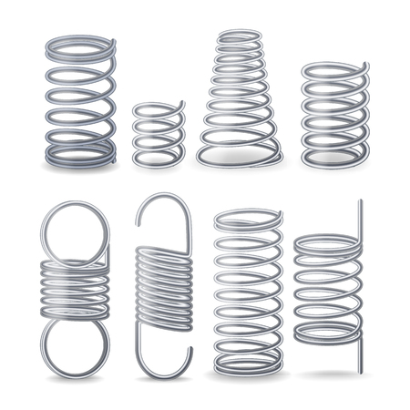 Spiral Flexible Wire. Springs Of Compression, Tension And Torsion. Set Vector Illustration