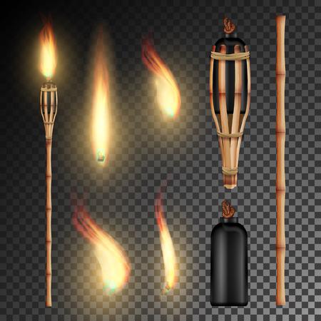 Torcia di bambù Burning Beach con fiamma. Fuoco realistico. Torcia Fuoco Realistica Isolata Su Sfondo Trasparente. Vettore Archivio Fotografico - 78661947