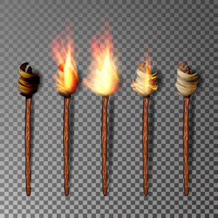 relay: Torch With Flame. Realistic Fire. Realistic Fire Torch Isolated On Transparent Background. Vector