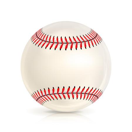 野球革ボールが白で隔離。ソフトボール野球。光沢のあります。  イラスト・ベクター素材