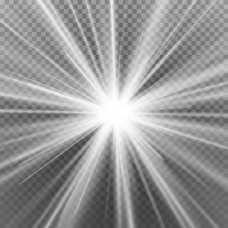 Light Beam Rays Vector. Light Effect Vector. Rays Burst Light.Isolated On Transparent Background. Vector Vettoriali