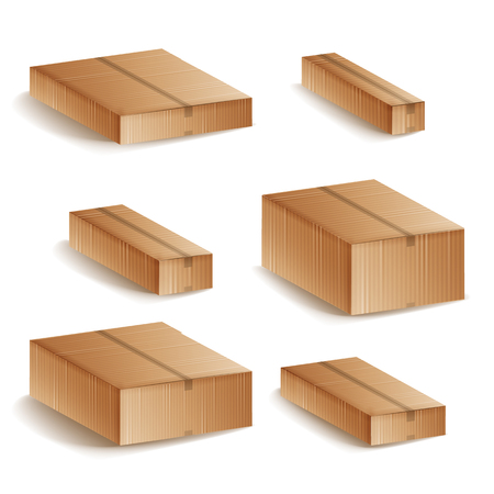 Realistic Cardboard Boxes Set Isolated Vector Illustration Illustration