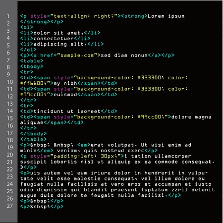 meta: HTML Simple Code Vector. Colorful Abstract Program Tags In Developer View. Screen Of Colored Lighted Syntax Of Source Code
