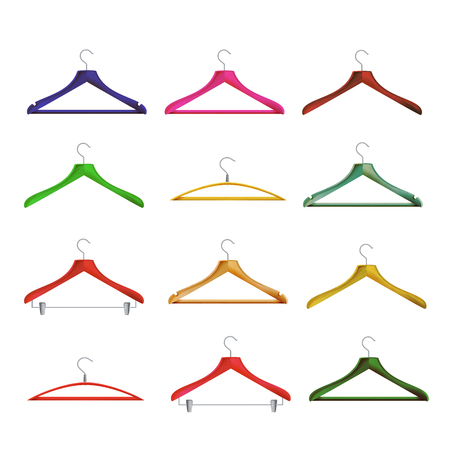 Wooden Clothes Hangers Vector. Illustration Of Classic Clothes Hanger Isolated.