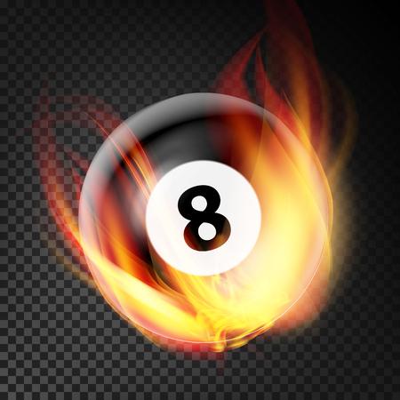 Vettore della palla da biliardo nel fuoco realistico. Palla da biliardo che brucia. Sfondo trasparente