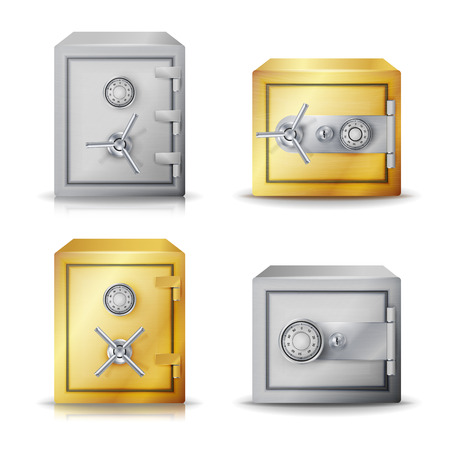 depository: Metal Safe Realistic Vector. Set Realistic Steel safe. Front View. Combination lock