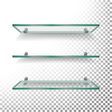 Empty glass shelves template vector set. Isolated on white background Stock Illustratie