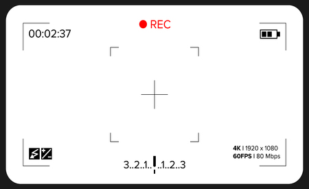 Camera Viewfinder Vector. Exposure And Video Camera Settings. Template