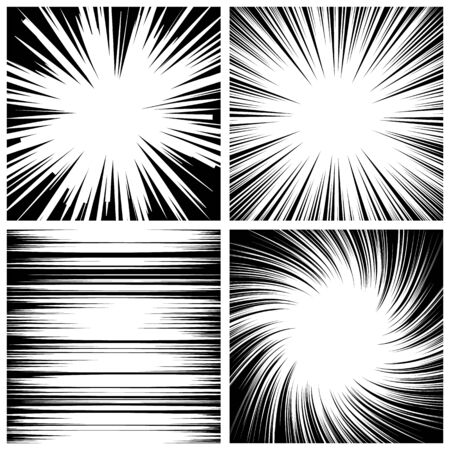 Manga Speed Lines Set Vector. Grunge Ray Illustration. Black And White. Space For Text. Comic Book Radial Lines Background. Manga Speed Frame. Square Stamp. Illustration