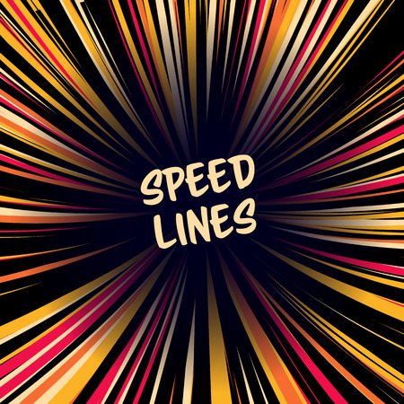 Fast speed warp vector effect. Lines Zoom Fade Converging Background. Comic book Element, Ray Power.