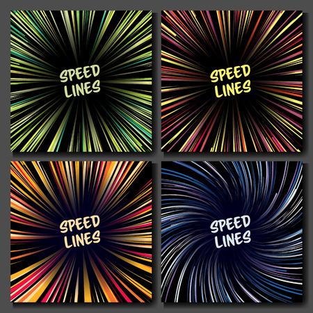 perspectiva lineal: Manga Speed ??Lines Vector Set. Diseño para cómics. Banner con la ilustración de efecto de color radial. Explosión Starburst.