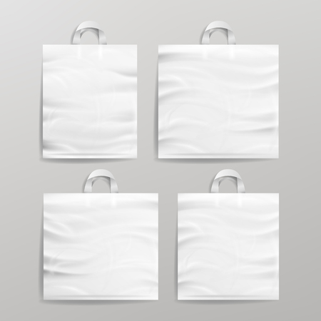 White Empty Reusable Plastic Shopping Realistic Bags Set With Handles. Close Up Mock Up. Vector Illustration