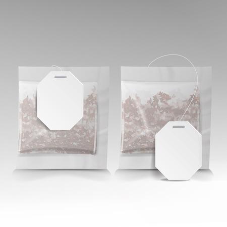 ラベルのティーバッグの図。正方形の形。ベクトル イラスト、デザインのモックアップ白で隔離