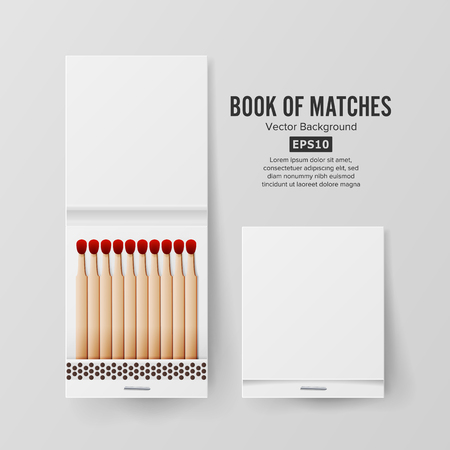 Book Of Matches Vector. Top View Closed Opened Blank. For Adding Your Packing Design And Advertising.