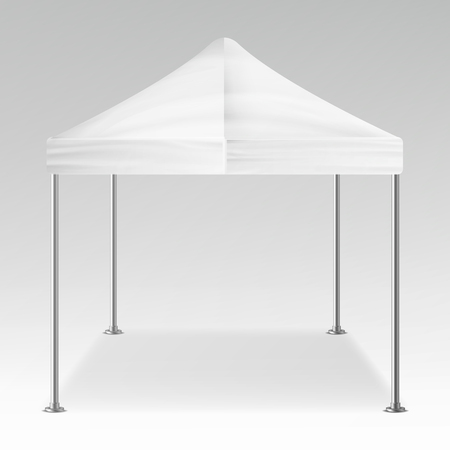 overhang: White Folding Tent Outdoor Pavilion Vector. Realistic Template Blank For Exhibition, Show, Party Or Wedding. Vector Illustration
