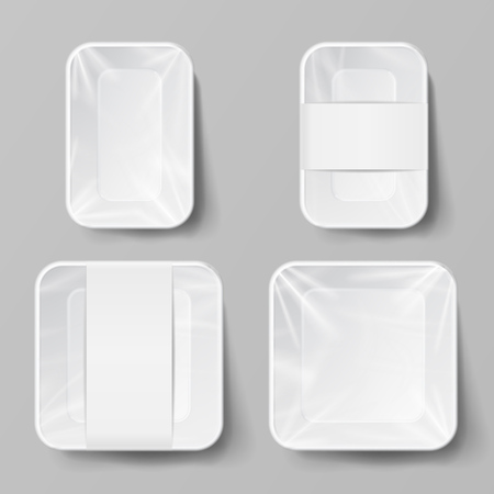 Template Blank White Plastic Food Container Set. Vector Mock Up Template Ready For Your Design.