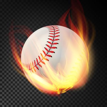 Baseball su fiamme che bruciano illustrazione di design isolato su sfondo trasparente Vettoriali