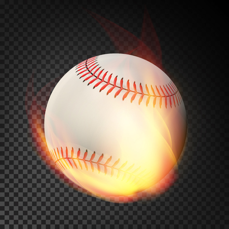 ignite: Flaming Realistic Baseball Ball On Fire Flying Through The Air. Burning Ball On Transparent Background