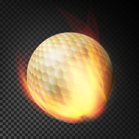 Flaming Realistic Golf Ball On Fire Flying Through The Air. Burning Ball On Transparent Background