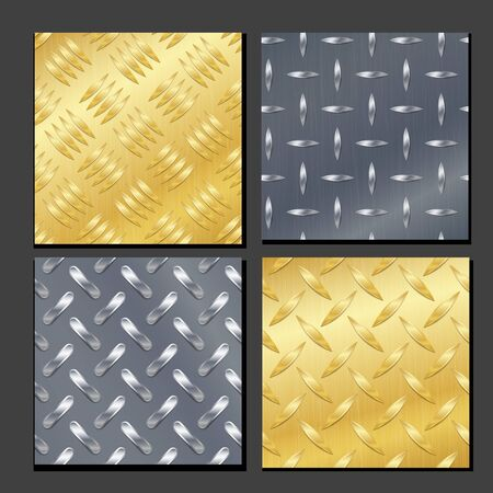 ironworks: Seamless Diamond Metal Background Set With Tread Plate. Gold, Chrome, Silver, Steel, Aluminum. Vector Pattern