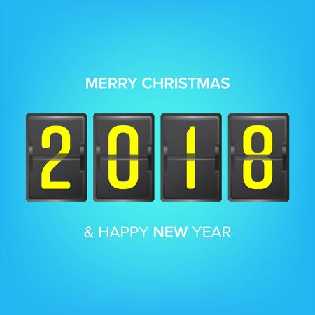 newyear: Happy New Year 2018. Vector Merry Christmas Greeting Card Blank.