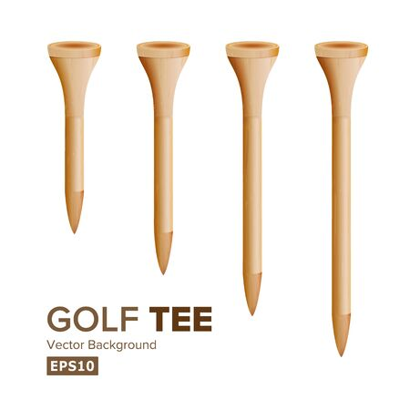 Golf Tees Vector. Realistic Illustration Of Wooden Golfing Tees Isolated On White Background. Different Size