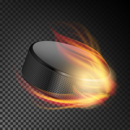 Realistic Ice Hockey Puck In Fire. Burning Hockey Puck On Transparent Background. Vector Illustration