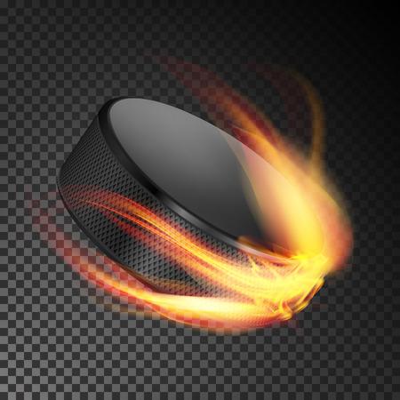Burning Hockey Puck. Burning Style. Illustration Isolated On Transparent Background Illustration