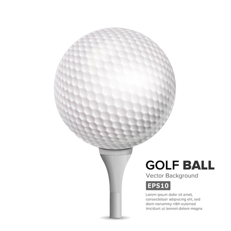 dimple: Golf Ball On White Tee. Vector Realistic Illustration Isolated