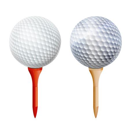 Realistischer Golfball auf T-Stück. Vektor isolierte Abbildung