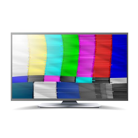 ntsc: No Signal TV. Descendant Network. Rainbow Bars. Vector Abstract Background. Analog and NTSC standard tv test screen. Television Maintenance Component Illustration
