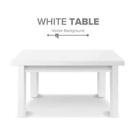 exposition: Empty White Plastic Table Isolated On White Background. Realistic Platform. Vector Illustration. Good For Product Display Template. Stock Photo