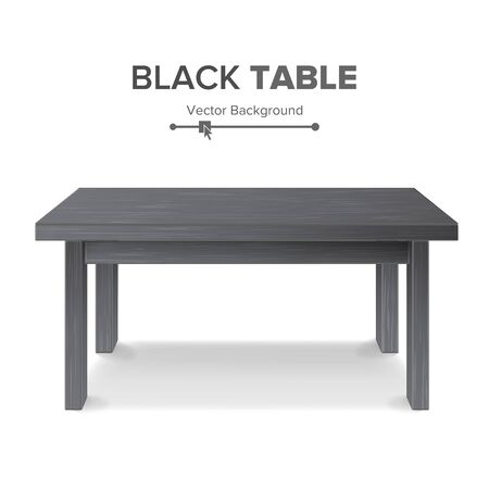exposition: Dark Empty Square Table, Platform. Isolated Furniture, Platform. Realistic Vector Illustration.