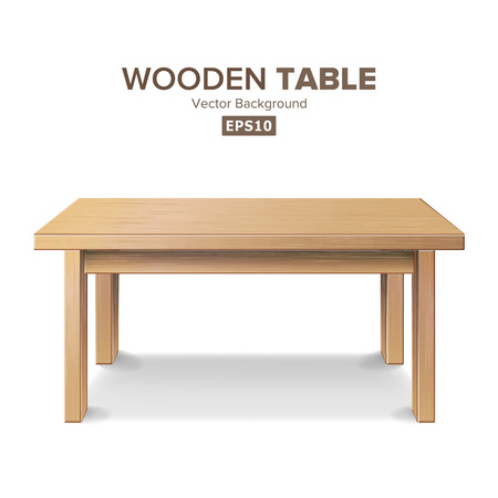 Wooden Empty Square Table. Isolated Furniture, Platform Realistic Illustration