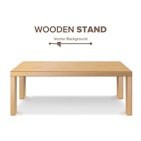 Wooden Stand, Table Vector. 3D Stand Template For Object Presentation. Realistic Vector Illustration.