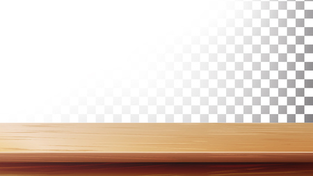 Wooden Table Top Vector. Empty Stand For Display Your Products. Isolated