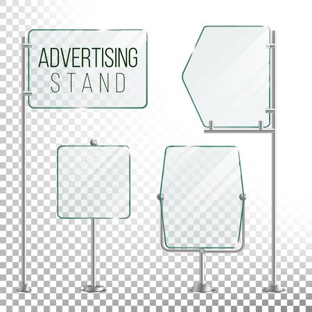 Glass Screen Banner Set Vector. Empty Advertising Display For Your Business. Vector Illustration Çizim