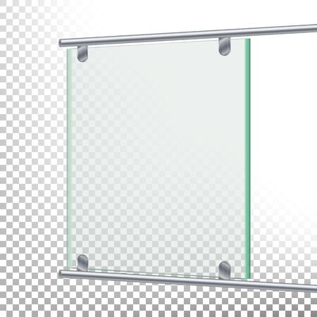 market place: Advertising Glass Board Vector. Banner Mockup Illustration. Empty Glass Screen Banner
