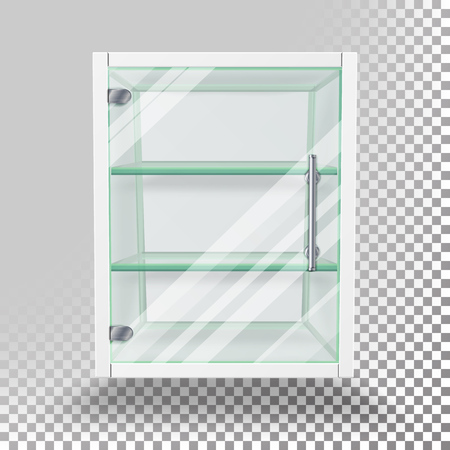 market place: Advertising Glass Cabinet Vector. Empty Stand Isolated On Transparent Background. Advertising Glass Showcase For Exhibit And Products. Vector Illustration