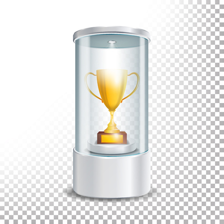 prestige: Transparent Glass Museum Showcase Podium With Golden Cup, Spotlight And Sparks. Mock Up Capsule Box For Award Ceremonies.