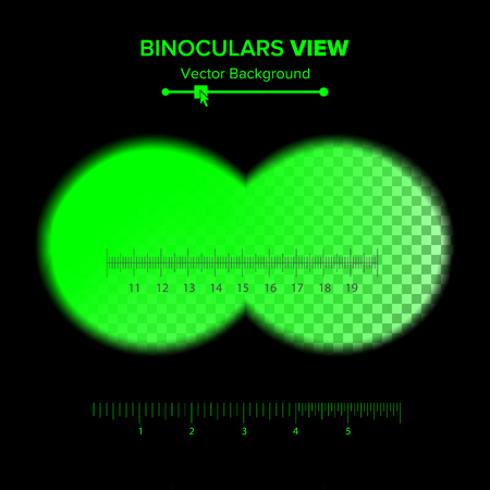 observation: Binoculars View Vector. Illustration Of Binoculars Night Green View Isolated On Transparent Background. Soft Edges, Cross-hair.