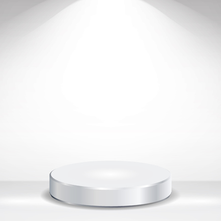 3d Empty Podium Vector. Round Empty White Podium On Clean light Interior Scene Mock Up.