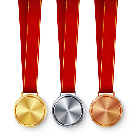 Champion Medals Blank Set Vector. Metal Realistic First, Second Third Placement Prize. Classic Empty Medals Concept. Red Ribbon, Laurel Wreath. Sport Game Golden, Silver, Bronze Achievement Template