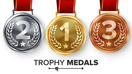 Champion Medals Set Vector. Metal Realistic First, Second Third Placement Achievement. Round Medals With Red Ribbon, Relief Detail Of Laurel Wreath, Star. Sport Game Golden, Silver, Bronze Achievement